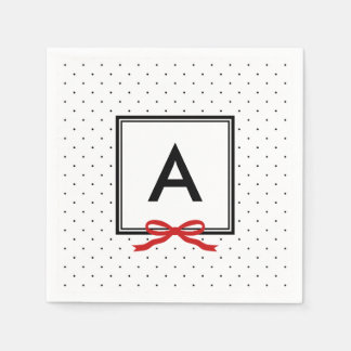 Chic Red Ribbon Polka Dot Pattern Monogram Napkin