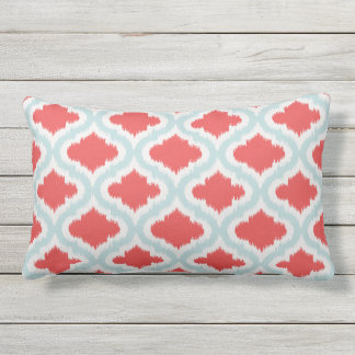 chic red turquoise moroccan pattern ikat pillow