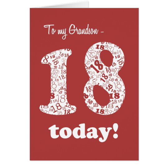 Chic Red, White 18th Birthday for Grandson Card