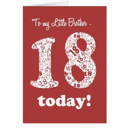 Chic Red, White 18th Birthday for Little Brother Card