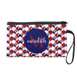 Chic red, white & blue geometric, monogrammed wristlet