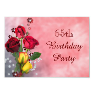 """Chic Red & Yellow Roses 65th Birthday 5"""" X 7"""" Invitation Card"""