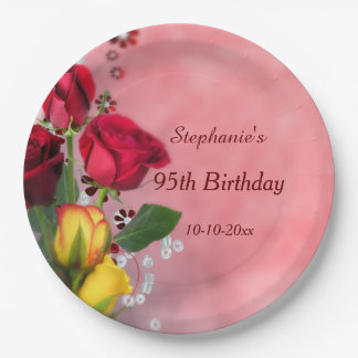 Chic Red & Yellow Roses 95th Birthday Paper Plate