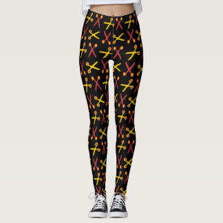 Chic Red Yellow Scissors Pattern Black Leggings