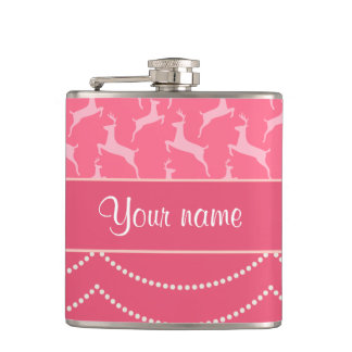 Chic Reindeer and Hanging Lights Personalized Flasks