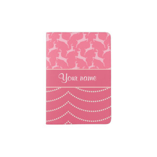 Chic Reindeer and Hanging Lights Personalized Passport Holder