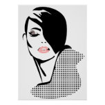 Chic retro dots fashion girl poster