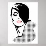 Chic retro dots fashion girl posters