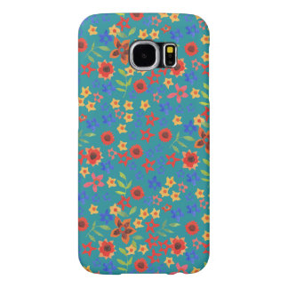 Chic Retro Floral on Teal Samsung Galaxy S6 Case