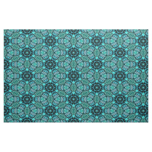 Chic Retro Teal Turquoise Oriental Mosaic Pattern Fabric