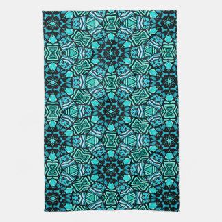 Chic Retro Teal Turquoise Oriental Mosaic Pattern Towel