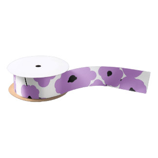 CHIC RIBBON_MOD LAVENDAR & BLACK POPPIES SATIN RIBBON