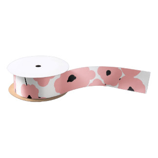 CHIC RIBBON_MOD PINK & BLACK POPPIES SATIN RIBBON