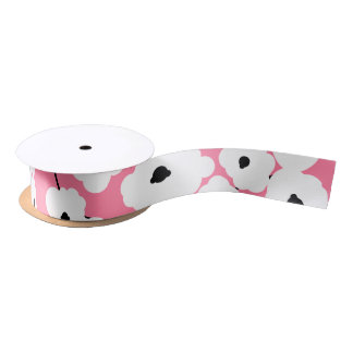 CHIC RIBBON_MOD WHITE & BLACK POPPIES SATIN RIBBON