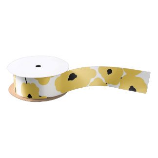 CHIC RIBBON_MOD YELLOW & BLACK POPPIES SATIN RIBBON