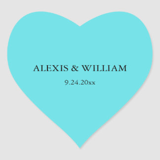 Chic Robins Egg Blue Wedding Heart Sticker