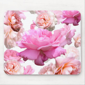 Chic Romantic Pink Roses on White Floral Mouse Pad