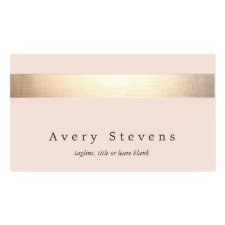 Chic rose-clair moderne rayé coloré par or cartes de visite personnelles