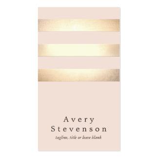 Chic rose-clair moderne rayé coloré par or cartes de visite professionnelles