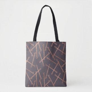 Chic Rose Gold Bobby Pins Gray Tote Bag