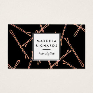 Chic Rose Gold Bobby Pins Hair Stylist Salon Black Business Card