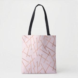 Chic Rose Gold Bobby Pins Pink Tote Bag