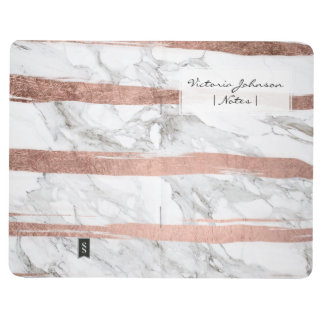 Chic rose gold brush strokes stripes white marble journal