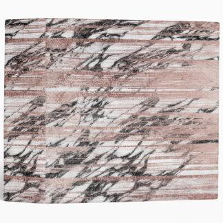 Chic Rose Gold Brushstrokes on Black White Marble Vinyl Binders
