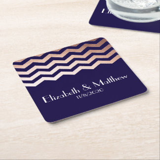 Chic Rose Gold Chevron Wedding Favor Coaster