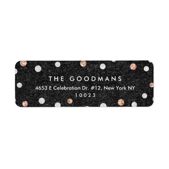 Chic Rose Gold Confetti Dots Return Address Labels