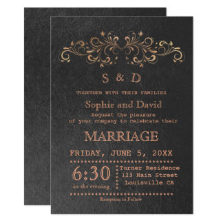 Chic Rose Gold Flourish Swirl Black Wedding Invite