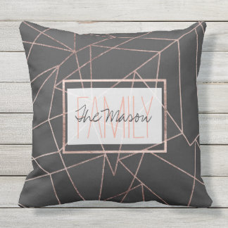 Chic Rose Gold Geo Outline Black Charcoal Monogram Throw Pillow