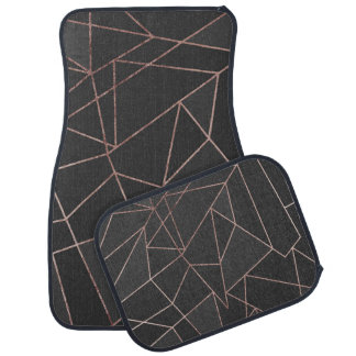 Chic Rose Gold Geometric Outline on Black Charcoal Car Liners