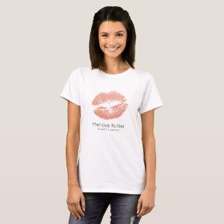 Chic Rose Gold Glitter Lips Makeup Artist T-Shirt
