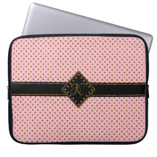 CHIC ROSE GOLD GLITTER POLKA DOTS MONOGRAMMED LAPTOP SLEEVE