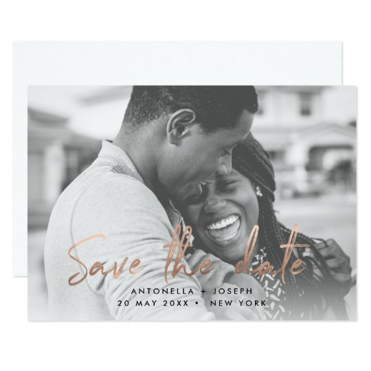 Chic Rose Gold Handwritten Save the Date Photo Card