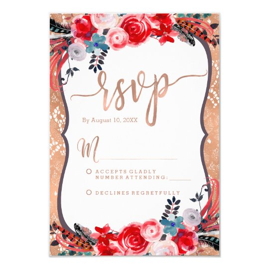 Chic Rose Gold Lace & Floral Wedding RSVP Response Card