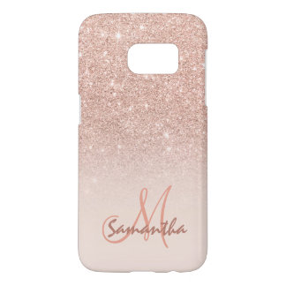 Chic rose gold ombre pink block personalized samsung galaxy s7 case
