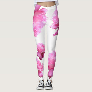 Chic Roses White Athleisure Yoga Pants Leggings
