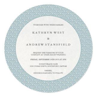 Chic Round Blue Waves Pattern Wedding Invitation