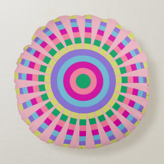 CHIC ROUND PILLOW_FUN PASTEL SUNBURST GEOMETRIC ROUND PILLOW