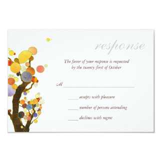 """Chic Rural Trees Outdoor Wedding RSVP 3.5"""" X 5"""" Invitation Card"""