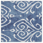 Chic rustic blue white damask ikat tribal patterns fabric