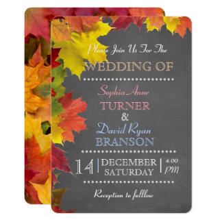 Chic Rustic Fall Leaves Chalk Wedding Invitation