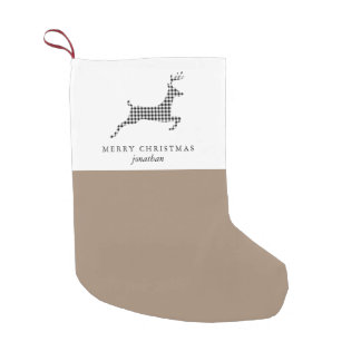 Chic Rustic Plaid Deer with Add Name Christmas Small Christmas Stocking