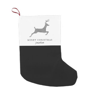 Chic Rustic Plaid Deer with Add Name Christmas Small Christmas Stocking