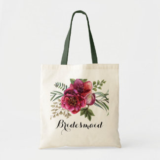 Chic Rustic Watercolor Floral Custom Bridesmaid Tote Bag