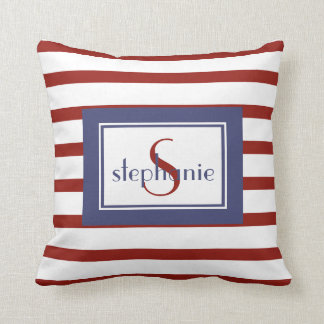 Chic RW&B stipes, Add Name & Initial Throw Pillow
