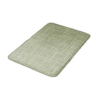 Chic Sage Herb Green Faux Jute Fabric Pattern Bath Mat