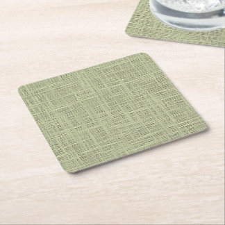 Chic Sage Herb Green Faux Jute Fabric Pattern Square Paper Coaster